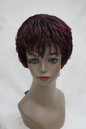 Wholesale Short Kinky Straight Wigs - Afro Kinky black and red mixed Wig with Bangs Senegal Havana style straight braid Short braid full wig