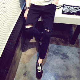 Wholesale Knee Pants For Men - Wholesale-GD Bigbang Knee Hole Ripped Jeans For Men Black Tights pants Summer Mens Skinny Jeans Hombre Freeshipping