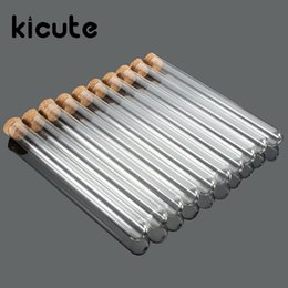 Wholesale Test Tubes Glass Stoppers - Wholesale- Kicute 10pcs pack Lab Glass Test Tube With Cork Stoppers 15x150mm Laboratory School Educational Supplies