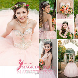 Wholesale Blue Sleeveless Maternity Dress - 2016 Princess Pink Quinceanera Dresses With Beaded Crystal Puffy Skirt Ball Gowns Sweet 16 Gowns Corset Sweetheart Formal Dress for 16 years