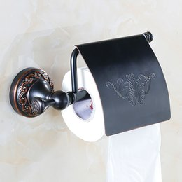 Wholesale Rack Roll - Covered Toilet Paper Holder Antique Black Bronze Finished Roll Rack Wall Mounted Tissue Hanger Solid Brass Bathroom Products