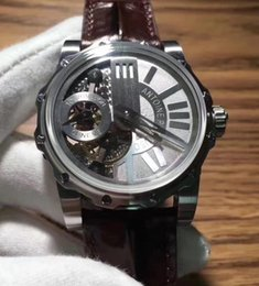 Wholesale Tourbillon Watches Steel - Brand New Mens Mechanical Monumental Tourbillon Watch 45mm Stainless Steel Sapphire Crystal Watches Men Leather Sport Swiss Wristwatches