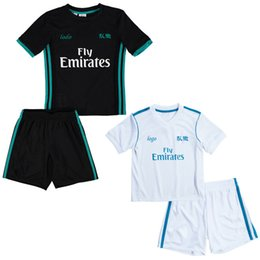 Wholesale black children tracksuits - Real Madrid Children football tracksuit 2017 Real Madrid kids soccer jerseys survetement training kids Super clothes boys summer sets