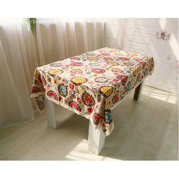 Wholesale Table Cloths Flowers - Vintage Rectangular Cotton Linen Lace Sun Flower Table Cloths, Washable Tablelinens Dinner Picnic Table Cloth Home Decoration Assorted Size