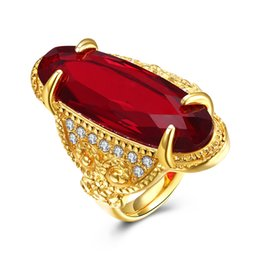 Wholesale Men Rings Gem - New Big Red Gem Rings Men Cool Jewelry Gold Color Large Zircon Rings Party Jewelry New Gothic Male Luxury CZ Crystal Stainless Steel Rings
