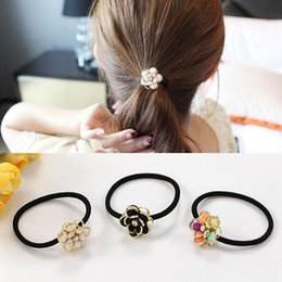 Wholesale Flowers Colored Stones - Multi Colors Flower Popular Trendy Hair Elastic Pony Tails Holder Chrysanthemum (petal can moves)Colored Stone Hair Elastic 2#
