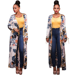 Wholesale Long Sleeve Belted Blouse - 2017 spring summer new long floral beach cover up blouse cape beach long kimono jacket shirt