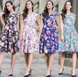 Wholesale Polka Dot Rockabilly Party - Belle Poque Womens Summer Dress 2017 Floral Retro Vintage 50s Casual Party Robe Rockabilly Dresses Plus Size Vestidos mujer