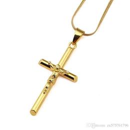 Wholesale Cross Design Gold - Men Jesus Cross Pendant Necklaces 18k Gold Fashion Hip Hop Bling Jewelry Design Long 17.7inch Chains Punk Rock Rap Men