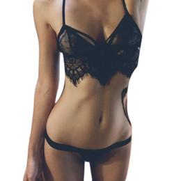 Wholesale Open String Bra Sexy - Wholesale- 2016 New Sexy Erotic Lace Open Bra Lingerie Set G String Lenceria Suspender Underwear Thongs Femme Crochet Camisole Sex camis Z2
