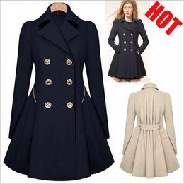 Wholesale Trench Wool Ladies Dress Coats - 2017 Fashion Lady Slim Fit Wool Women Double Breasted Trench Warm Coats Dress Jacket Women Medium-Long Coat Wool Coat