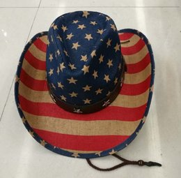 Wholesale Protection Usa - Summer Unisex Printing American Flag Cowboy Straw Sun Hat With Leather Band USA Wild Brim CCaps For Men And Women