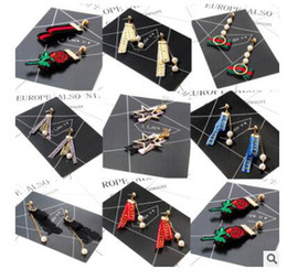 Wholesale embroidery earrings - 2017 new cloth earrings lace velvet embroidery earrings nine styles can choose
