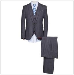 Wholesale Navy Cotton Blazer - 2016 New Men Jacket+Vest+Pants Custom Long Sleeved Notched Lapel Blazers Groom Dress Tuxedo Wedding Suits Casual Fashion Suits AOP--008