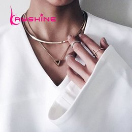Wholesale Geometric Choker - Punk Rock Style Gold Color Torques Chain with Geometric Pendant Choker Statement Necklace Designer for Women