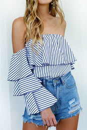 Senhoras casual jumpers On-line-Ladies Striped Shirts Mulheres Moda Off-shoulder Sexy Jumper Blusa 2017 Lady Summer Casual Clothing