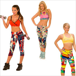 Wholesale Leggings Floral Xl - Leggings Print Sports Jeggings Floral Workout Tights Gym Fitness Pencil Pants Slim Fashion Cropped Trousers Capris Casual Running Wear B2622