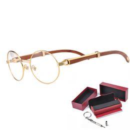Wholesale Optics Glasses - High Quality Prescription Eyeglasses Optics Glasses Metal Frame Wooden Legs Brand Designer Fashion Glasses With Eye glasses Box
