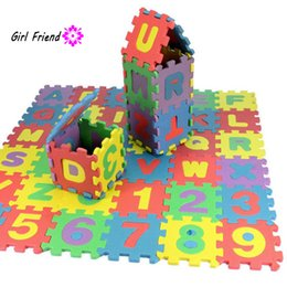 Wholesale Eva Alphabet Puzzle Mats - Wholesale- 36pcs Set 17.8*13.5*1.7cm Alphabet Numerals Kids Rug Baby Play Mat Soft Floor Crawling Mini Puzzle Mats for Children