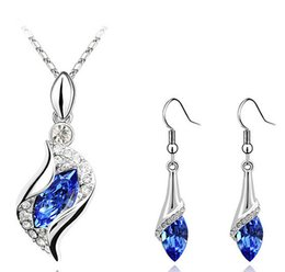 Wholesale women nickel free necklaces - Crystal Necklace Earring Set Nickel Free Blue Jewelry Sets High Quality Fashion Jewelry Sets For Women 2017