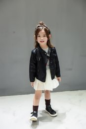 Wholesale boys kids leather jackets - Spring Autumn Kids Jacket PU Leather Girls Jackets Clothes Children Outwear For Baby Girls Boys Clothing Coats Costume