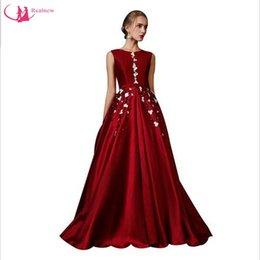 Wholesale Luxury Banquet Dress - Banquet Evening Dress 2017 Fashion Realnew The Bride Wine Red Luxury Wine Red Satin Beading Long Prom Dresses Custom Party Gown