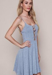 Wholesale Cheapest Knitted Dress - Cheapest Europe and United States women sexy halter sleeveless Slim knitted harness pendulum dress skirt grey