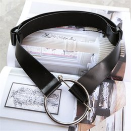 Wholesale Leather Belt Metal Rings - Wholesale- Simple Needle Metal Buckle Women Belts European Street Fashion Adjustable Leather Strap Brief Ring Female Belts 63258