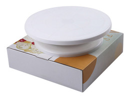 Wholesale Cake Turntable Plastic - with Retail Package Cake Rotating Turntable Decorating Display Stand Sugarcraft Tools Wholesale