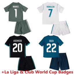 Wholesale Youth Real Madrid Jerseys - Real Madrid Kids Soccer Jerseys Youth SERGIO RAMOS RONALDO MODRIC ASENSIO ISCO BALE Shirt Home White Away Third 17 18 Football Uniforms Kit