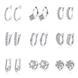 Wholesale Plant Hoops - 18pairs lot 9 models mixed order 18K white gold plated small hoop earrings cubic zirconia trendy huggie for women #er186