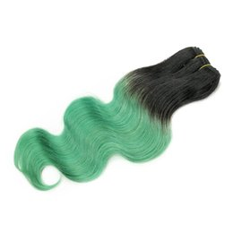 Wholesale Two Tone Remy Human Hair - 300g Ombre Human Hair Bundles Body Wave T 1B Green Two Tone Colored Brazilian Peruvian Malaysian Indian Cambodian Hair