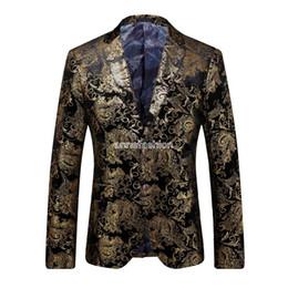Wholesale Corduroy Tuxedo Suit - Men Gold European Style Tuxedo Blazer Autumn Winter Slim Fit Velvet plus suit blazer For Men