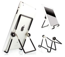 Wholesale Alloy Tablet - Wholesale 5 pics Folding Big Size 10 inch Tablet Metal PC Stand Mount Holder Multi-angle Non-slip For ipad pro 1 2 3 4 5 air1 2 Mini