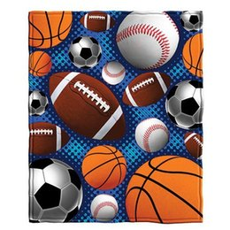 Wholesale Basketball Sofa - Flannel Blanket Sports Baseball Basketball Football Soccer Sofa Throw Shawl Nap Travel Bed Quilt Plaid Blankets Children Adult Blanket Warm