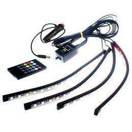 2019 mandos a distancia volvo 4 Unids / set Coche Led Strip Light 18LED Control de Voz Interior Decorativo Atmósfera Luz de Neón Wireless Remote RGB