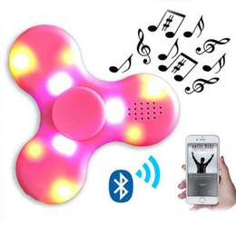 Wholesale Toy Speakers - Bluetooth Music Spinner Wireless Speaker Fidget Decompression Toy Led Light EDC Plastic Fidget Toys Hand Spinner LED Display Spinner