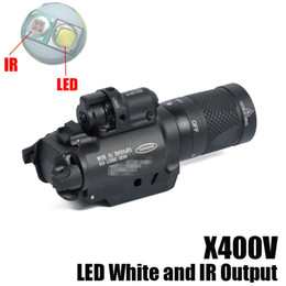 Wholesale Red Gun Laser - NEW SF X400V-IR Flashlight Tactical Gun Light LED White and IR Output With Red Laser Black