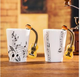 Wholesale Wholesale Unique Gift Novelties - Novelty Styles Music Note Guitar Ceramic Cup Personality Milk Juice Lemon Mug Coffee Tea Cup Home Office Drinkware Unique Gift