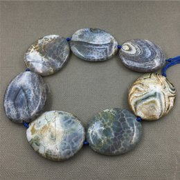 Wholesale Dragon Vein Necklace - MY1245 Large Dragon Veins Agates Blue Thick Flat Oval Slice Slab Beads Pendant Necklace Jewelry Making