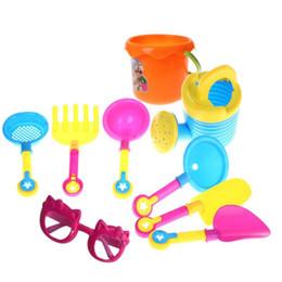 Wholesale Plastic Bucket Beach Toys - Wholesale- 9Pcs Sand Sandbeach Kids Beach Toys Castle Bucket Spade Shovel Rake Water Pretending Toys Gift Levert Dropship Oct 26