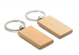 Wholesale Blank Wood Keychains - Hot Blank Wooden Key Chain Rectangle Key ring personalized keychain Can be engraved logo 2.25''*1.25'' KW01C