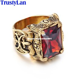 Wholesale Gold Ring Punk - dhgate Vintage Gold Color Men Jewelry Stainless Steel With Big Red Green Purple CZ Stone Ring Men Punk Rock Mens Rings Anel