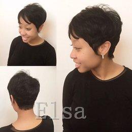 бразильские волосы rihanna Скидка Рианна Пикси вырезать короткие стрижки 7а бразильский человек короткие волосы боб парик с ребенком волос кружева фронт парик для чернокожих женщин