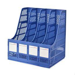 Wholesale Office File Box Organizer - Magazine File Holder Organizer Box Plastic File Holder Office Desk Organizer Content Label Holder 4-Compartment Slots