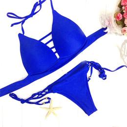 Wholesale Brazilian Beautiful Women - Cool Beautiful Comfortable Durable Bikinis Brazilian Set Fashion Bandage Beach Suit Lady Swimwear Solid Color 2506050