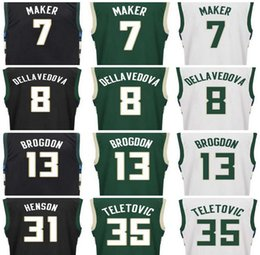 Wholesale Print Basketball Jersey - 2017 New Screen Printed 13 Malcolm Brogdon Jersey 7 Thon Maker 8 Matthew Dellavedova 31 John Henson 35 Mirza Teletovic Basketball Jerseys