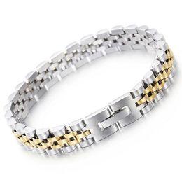 Tipi catene in oro 18k online-9.5mm 15mm gioielli di vendita caldi in acciaio inox moda Hiphop oro argento tipo cinturino semplice bracciale regolabile per donna uomo