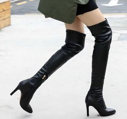 Wholesale Suede Boots Knee High Sale - New Arrival Hot Sale Fashion Princess Elegant Luxury Sweet Leather Knight Black Leg Stretch Stilettos Tall Canister Heels Knee Boots EU34-39