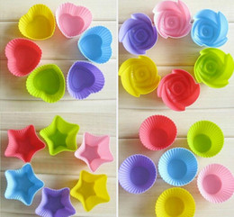 Wholesale Silicone Baking Molds Muffin - 4 styles food grade silicone cake muffin cupcake moulds case bakeware maker mold tray baking cup baking cake molds random color